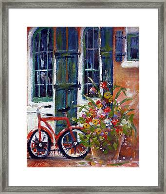 Framed Print featuring the painting Habersham Bike Shop by Gertrude Palmer