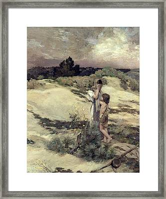 Hagar And Ishmael Framed Print by Jean-Charles Cazin