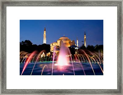 Hagia Sophia At Night Framed Print