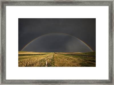 Hail Storm And Rainbow Framed Print