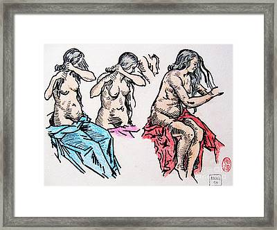 Hair Dressing Study Framed Print by Roberto Prusso