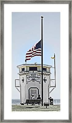 Half Mast At Laguna Beach  Framed Print