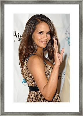 Halle Berry At Arrivals For Jenesse Framed Print