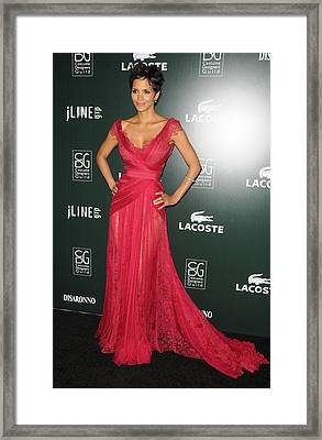 Halle Berry Wearing A Dress By Elie Framed Print