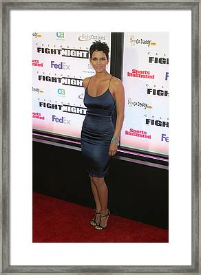 Halle Berry Wearing A Rachel Roy Dress Framed Print