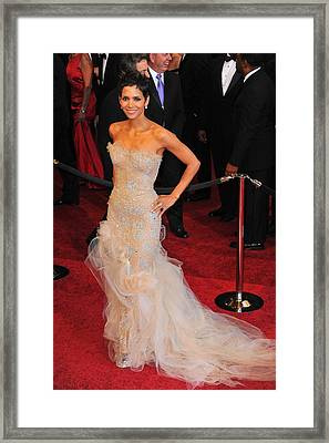 Halle Berry Wearing Marchesa Dress Framed Print