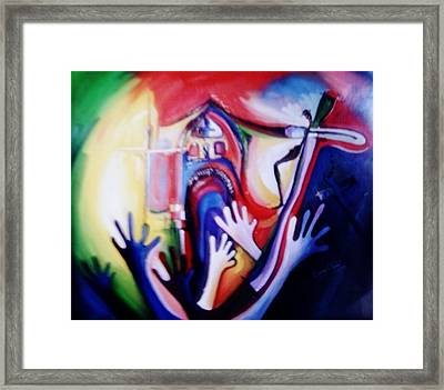 Framed Print featuring the painting Hallelujah At Cathedral by Oyoroko Ken ochuko