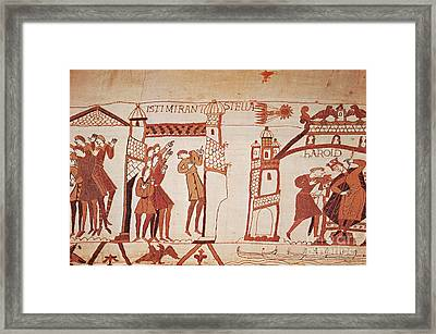 Halleys Comet, Bayeux Tapestry Framed Print by Photo Researchers