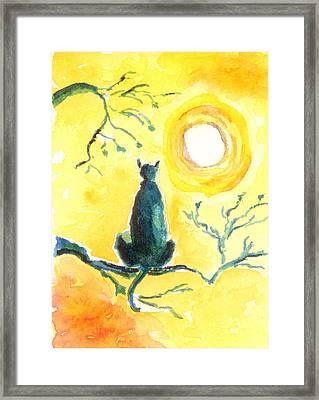 Halloween Black Kitty Cat Framed Print