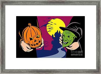 Halloween Mask Jack-o-lantern Witch Retro Framed Print by Aloysius Patrimonio