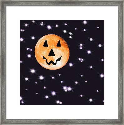 Halloween Night - Moon And Stars Framed Print by Steve Ohlsen