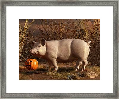 Halloween Pig Framed Print by Daniel Eskridge