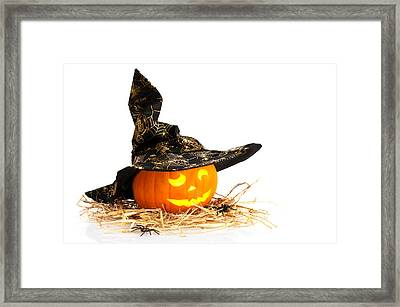 Halloween Pumpkin With Witches Hat Framed Print