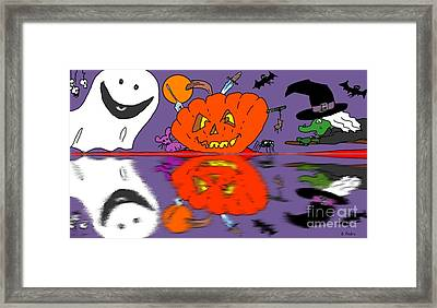 Halloween Reflections Framed Print by George Pedro