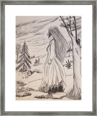 Halloween Witch Walk Framed Print by Maria Urso