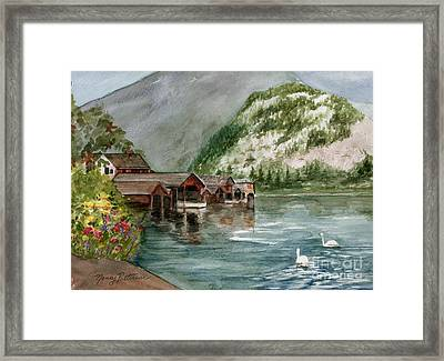 Framed Print featuring the painting Hallstatt In The Spring  by Nancy Patterson