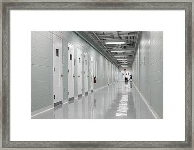 Hallway And Prison Cells Observation Framed Print by Roberto Westbrook