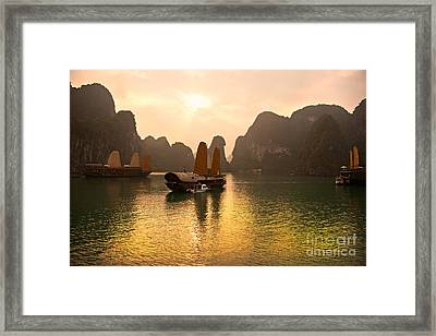 Framed Print featuring the photograph Halong Bay - Vietnam by Luciano Mortula