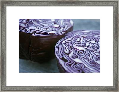 Halved Red Cabbage Framed Print by Maxine Adcock