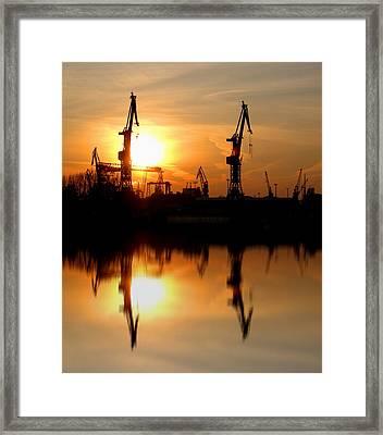 Framed Print featuring the photograph Hamburg Docks by David Harding