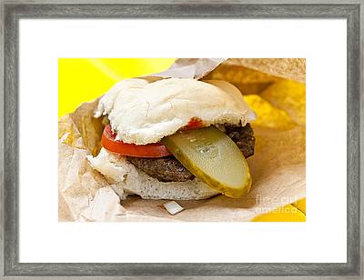 Hamburger With Pickle And Tomato Framed Print