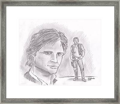 Framed Print featuring the drawing Han Solo -space Pirate by Chris  DelVecchio