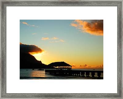 Hanalei Pier At Sunset Framed Print