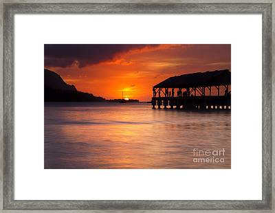 Hanalei Pier Framed Print by Mike  Dawson