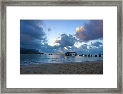 Hanalei Pier Sunset Kauai Framed Print