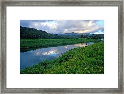 Hanalei River Reflections Framed Print by Kathy Yates