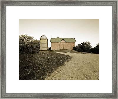Hand-colored Barn On Nn Framed Print by Jan W Faul