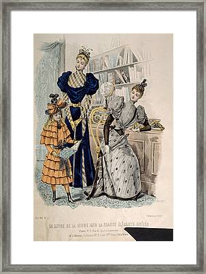 Hand-colored Engraving Of Two Women Framed Print