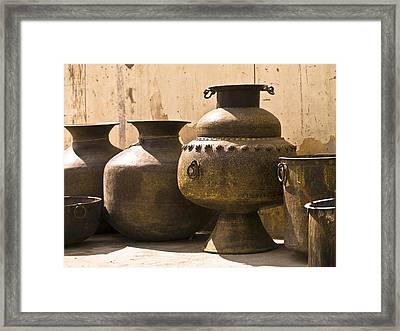 Hand Crafted Jugs, Jaipur, India Framed Print by Keith Levit
