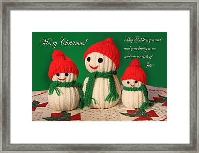Hand Crsafted Snowmen Framed Print by Linda Phelps