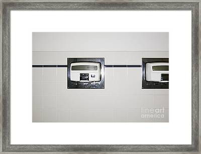 Hand Dryers In Restroom Framed Print
