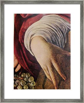 Hand Of The Lute Player From The Musicians Caravaggio Framed Print by Jake Hartz
