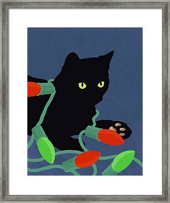 Hand Painted Cat And Christmas Lights Illustration Framed Print