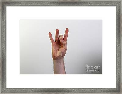 Hand Signing Number Eight Framed Print