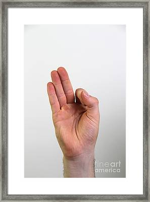 Hand Signing Number Nine Framed Print by Photo Researchers, Inc.