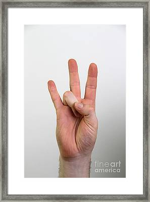 Hand Signing Number Seven Framed Print by Photo Researchers, Inc.