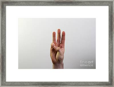 Hand Signing Number Six Framed Print