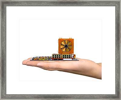 Hand With Computer Motherboard, Artwork Framed Print