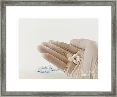 Hand With Pills Framed Print by Blink Images