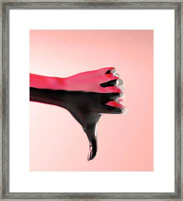 Hand With Thumb Pointing Down, Artwork Framed Print