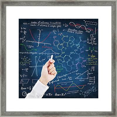 Hand Writing Science Formulas Framed Print