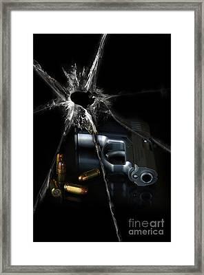 Handgun Bullets And Bullet Hole Framed Print by Jill Battaglia