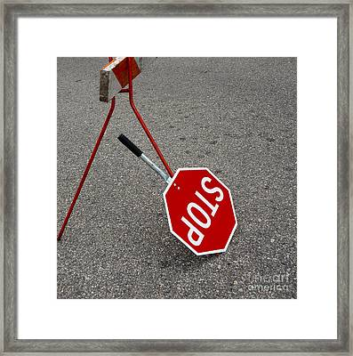 Handheld Stop Sign Framed Print by Marlene Ford