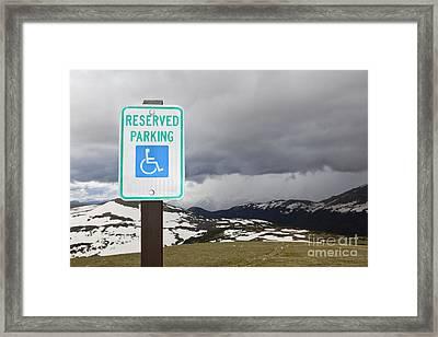 Handicap Parking Sign At A National Park Framed Print by Bryan Mullennix