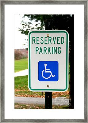 Handicapped Parking Sign Framed Print by Photo Researchers