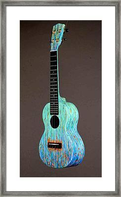 Handpainted Pono Concert Ukulele Framed Print by Jean Groberg